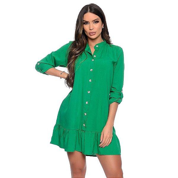 Vestido Chemise Botões Manga Longa B'Bonnie Rebeca Verde Bandeira