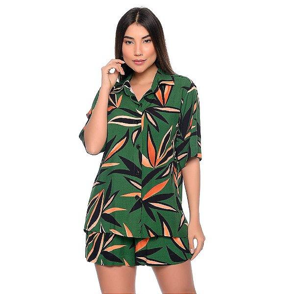 Conjunto Feminino de Camisa e Shorts em Viscose B'Bonnie Madonna Estampa Verde