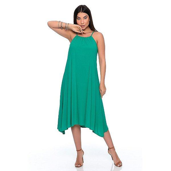 Vestido Midi Evasê Alça Regulável Pontas Alongadas B'Bonnie Emma Verde Bandeira
