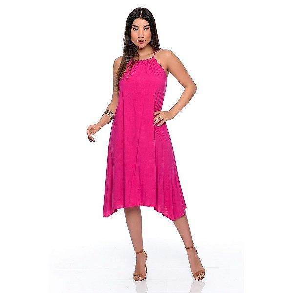 Vestido Midi Evasê Alça Regulável Pontas Alongadas B'Bonnie Emma Pink
