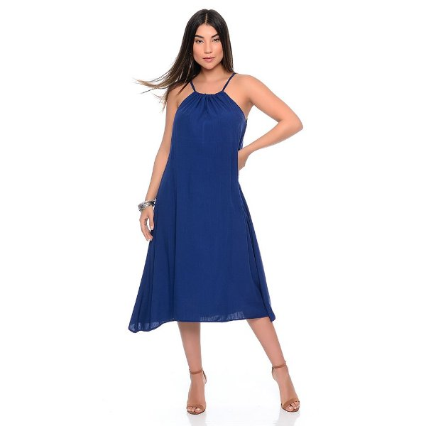 Vestido Midi Evasê Alça Regulável Pontas Alongadas B'Bonnie Emma Azul Marinho