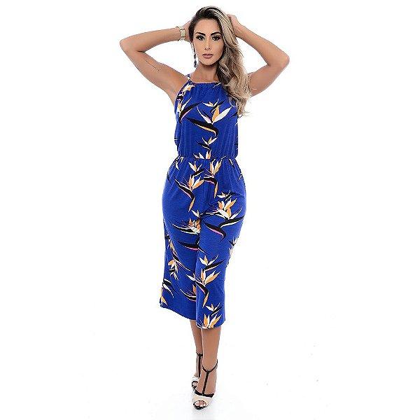 Macacão Pantacourt Alças Finas com Regulagem B'Bonnie Pilar Est Azul Royal