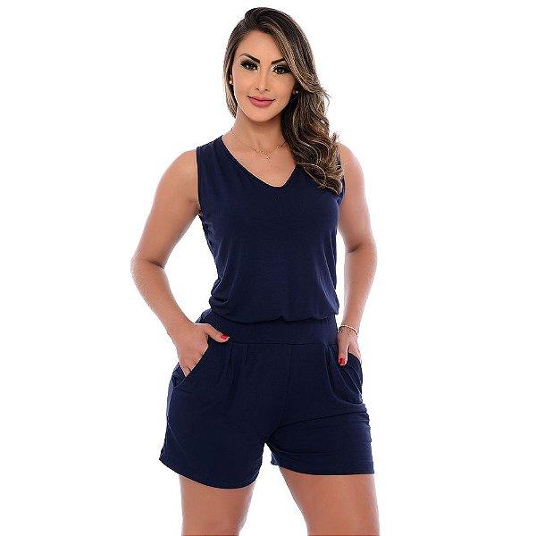 Macaquinho Feminino Alças Largas Bolsos e Cós na Cintura B'Bonnie Azul Marinho