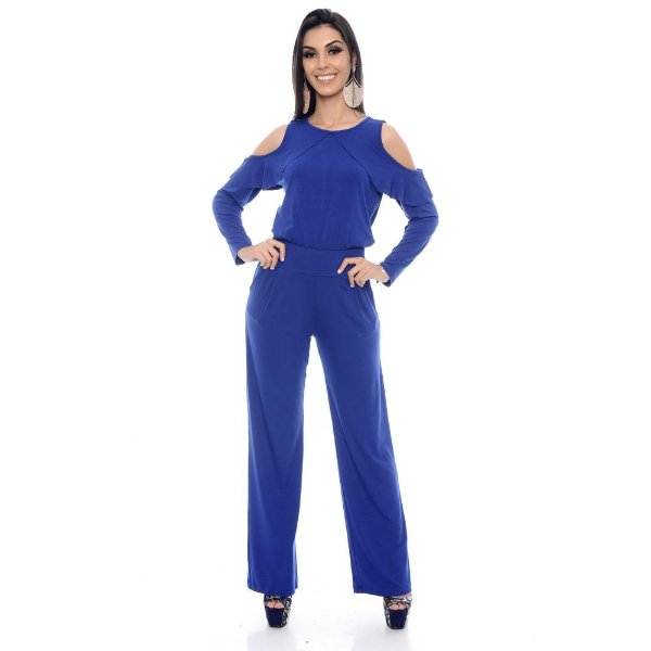 Macacão Pantalona Manga Longa Ombro Vazado B'Bonnie Azul Royal