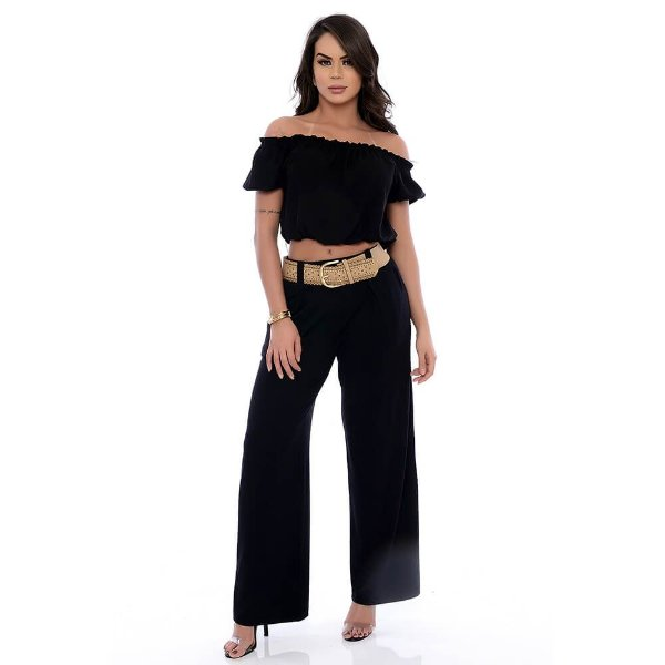 Calça Pantalona com Passante Cós e Bolsos Frontais B'Bonnie Preto