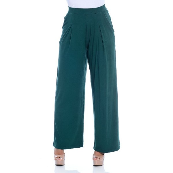 Calça Pantalona Cós Largo Bolsos Laterais e Pregas Frontais B'Bonnie Verde Militar