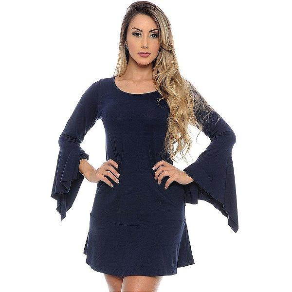 Vestido Curto Manga Longa Flare Com Pontas B'Bonnie Azul Marinho