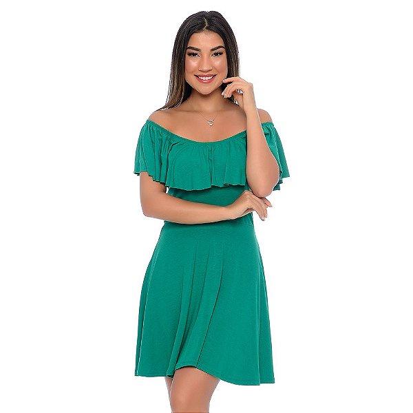 Vestido Curto Ciganinha Manga Curta Elástico no Decote e Babado B'Bonnie Verde