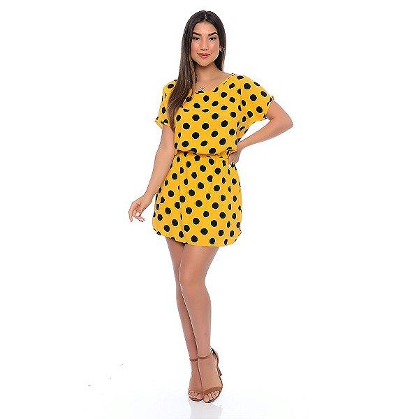 Vestido Curto B'Bonnie com Elástico na Cintura Amarelo Poá