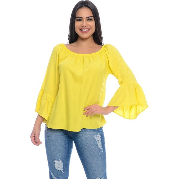 Blusa Ciganinha Manga Longa Flare B'Bonnie Amarelo