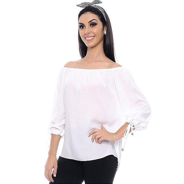 Blusa Ciganinha Manga ¾ com Abertura e Amarração B'Bonnie Branca