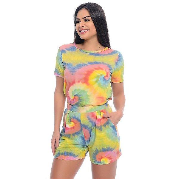 Conjunto Shorts e Baby Look B'Bonnie Tie Dye Amarelo