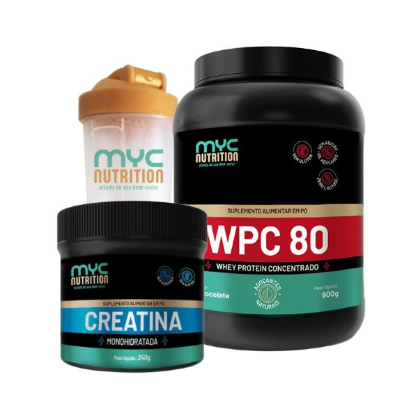 Kit Whey Protein 900g + Creatina Monohidratada 240g + Brinde - Myc Nutrition