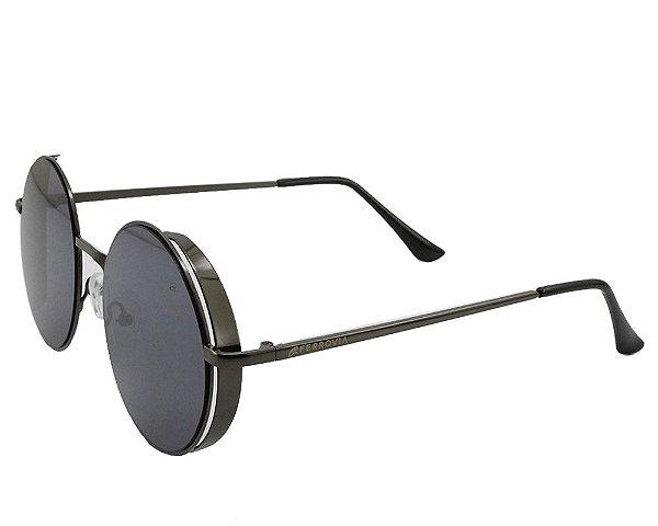 Óculos de Sol Unissex Ferrovia Metal Redondo Proteção UVA/UVB