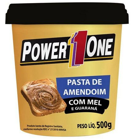 Pasta de Amendoim com Mel e Guaraná 500g - Power1One