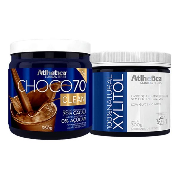Kit Choco 70 Clean 350g + 100% Natural Xylitol 300g - Atlhetica Nutrition