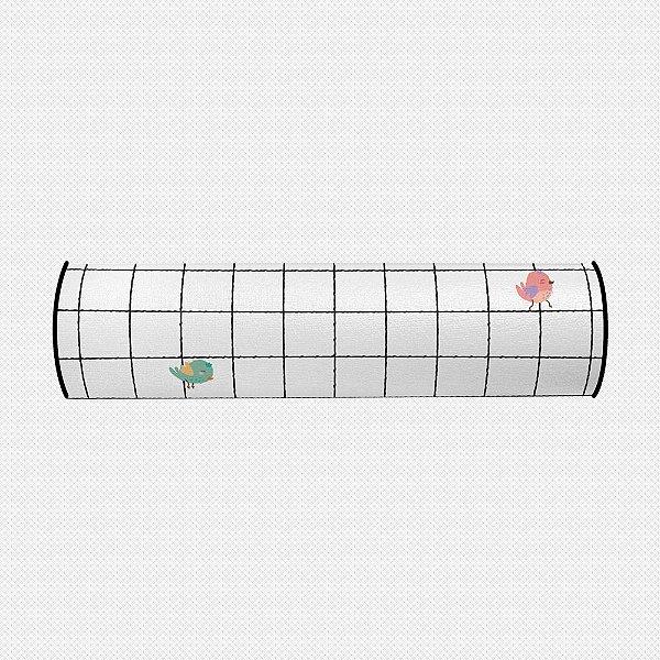 Rolo peseira para cama de solteiro Grid Passarinhos 68 cm