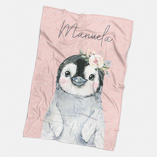 Manta Pinguim com flor personalizada