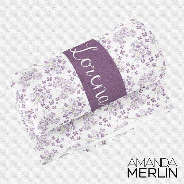 Manta berço Flores Violeta Personalizada