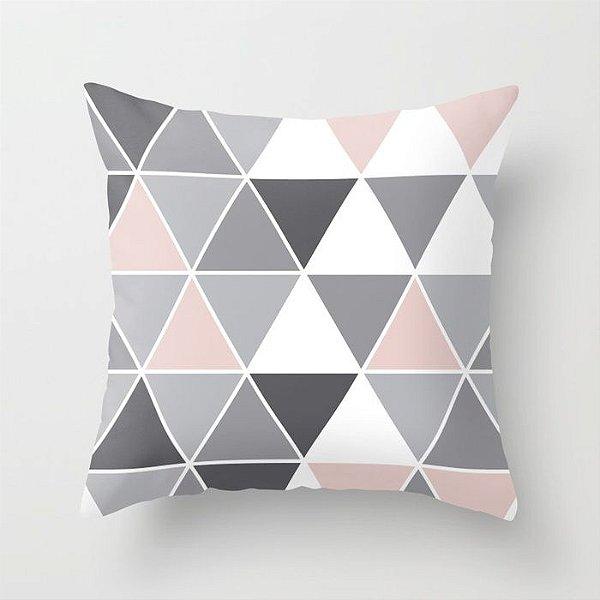 Capa de almofada Triângulos Cinza e Quartzo G