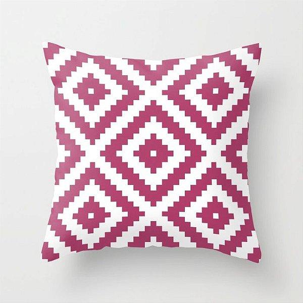 Capa de almofada Aztec Rosa Escuro