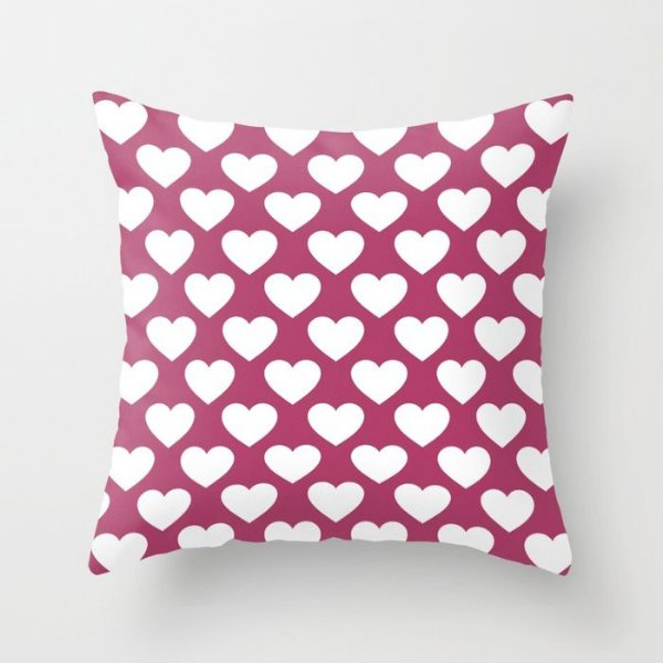 Capa de almofada Corações 2 Rosa Escuro