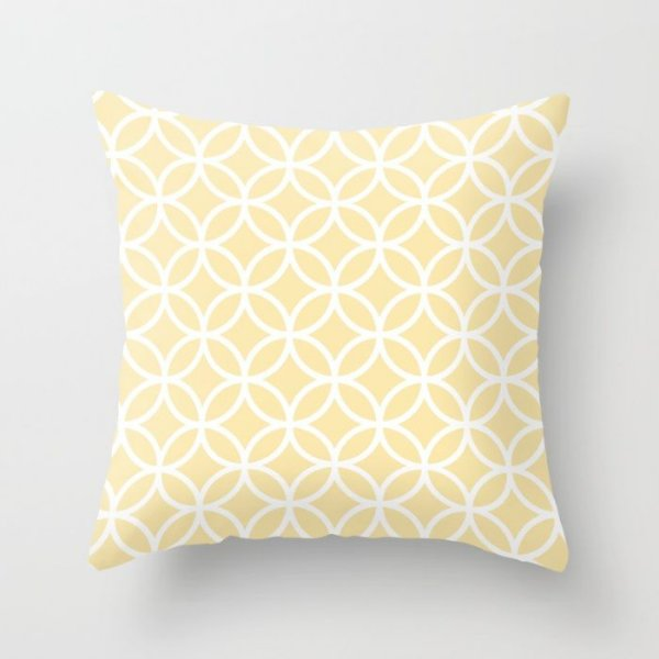 Capa de almofada Circles Amarelo Bebê