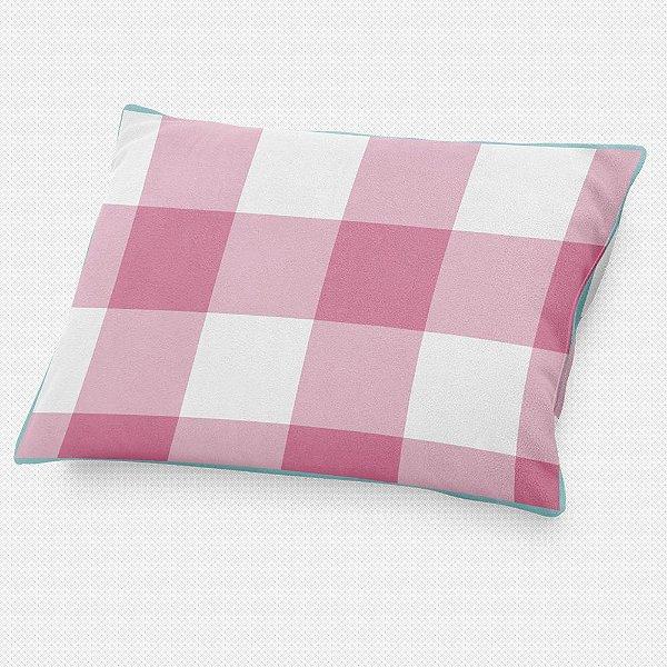 Almofada de cabeceira Xadrez Rosa Chiclete
