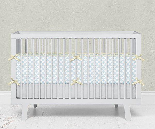 Lateral de berço em espuma Corações Azul bebê