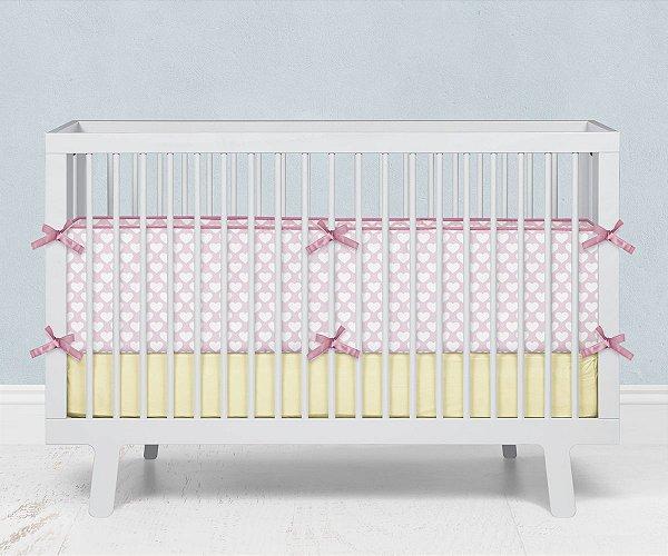 Lateral de berço em espuma Corações Rosa bebê
