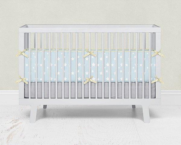 Lateral de berço em espuma Azul bebê com Estrelas