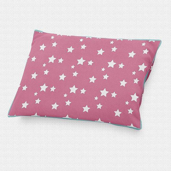 Almofada de cabeceira Rosa Chiclete com Estrelas