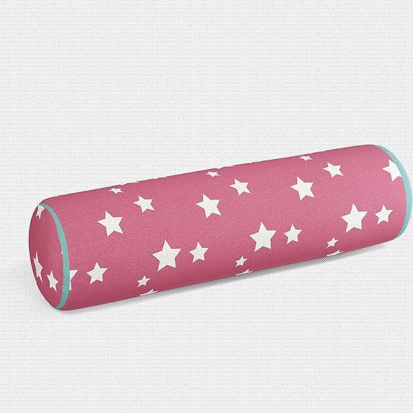 Rolo peseira Rosa Chiclete com Estrelas