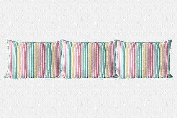Kit almofadões para cama Candy Listras