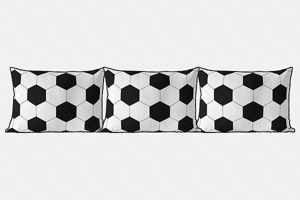 Kit almofadões para cama Bola de Futebol branco