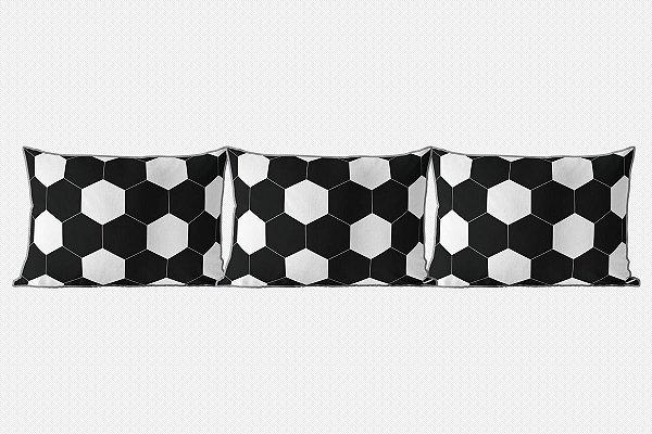 Kit almofadões para cama Bola de Futebol preto