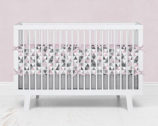 Kit berço em espuma Tri cinza e rosa bebê