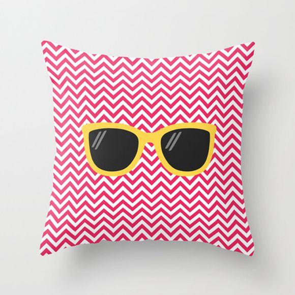 Capa de almofada Óculos Rosa e Amarelo 40x40 ~ OUTLET
