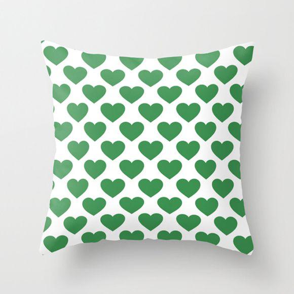 Capa de almofada Corações Verde