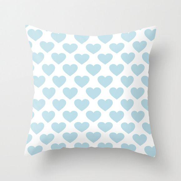 Capa de almofada Corações Azul bebê
