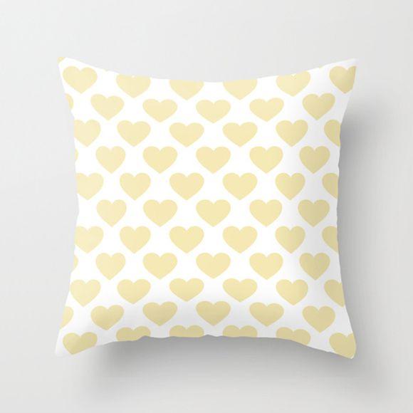 Capa de almofada Corações Amarelo bebê