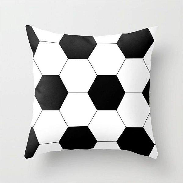 Capa de almofada Bola de futebol Branca