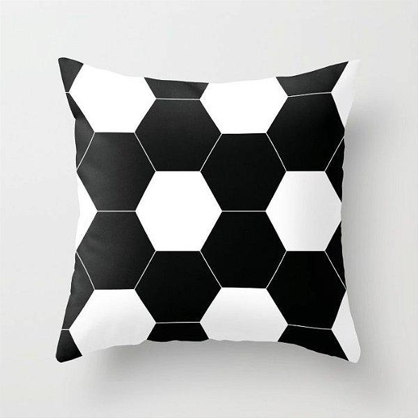 Capa de almofada Bola de futebol Preta