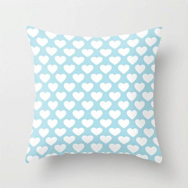 Capa de almofada Corações 2 Azul bebê