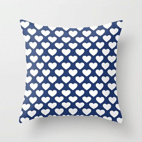 Capa de almofada Corações 2 Azul marinho