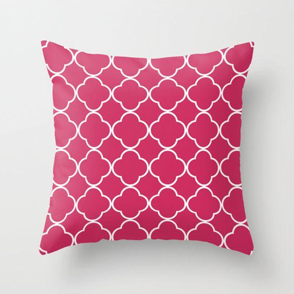 Capa de almofada Quatrefoil Rosa chiclete