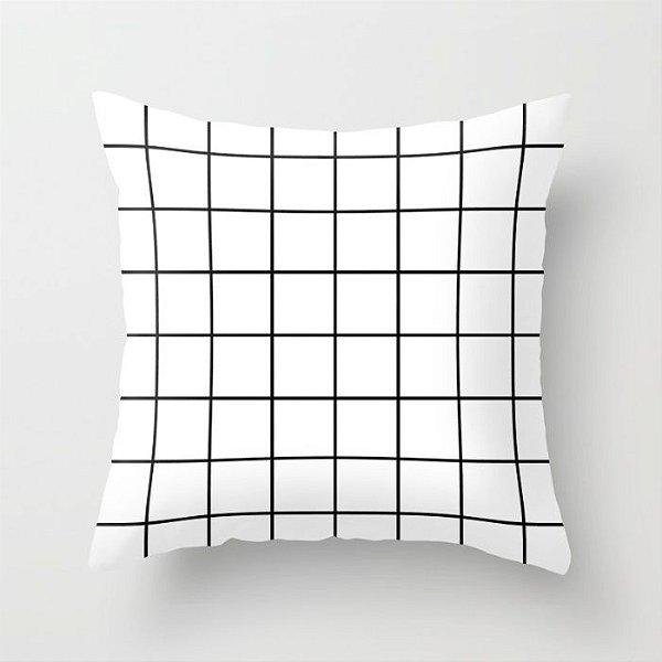 Capa de almofada Quadrados 2 preta