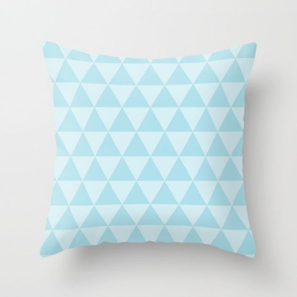 Capa de almofada Triângulos 2 Azul bebê