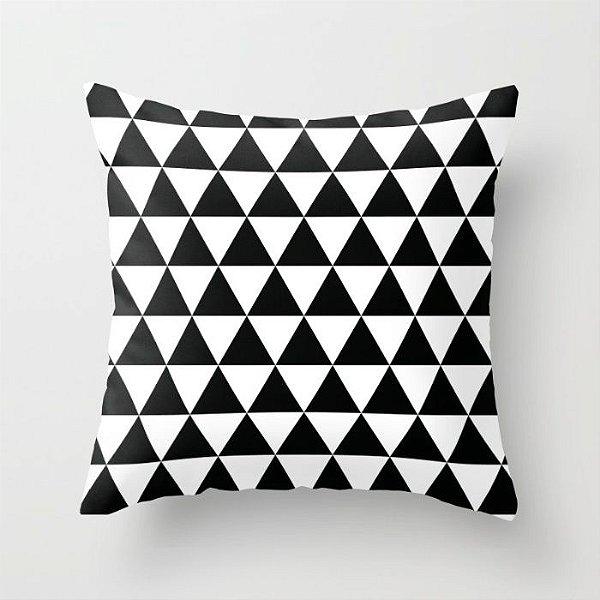 Capa de almofada Triângulos Preto