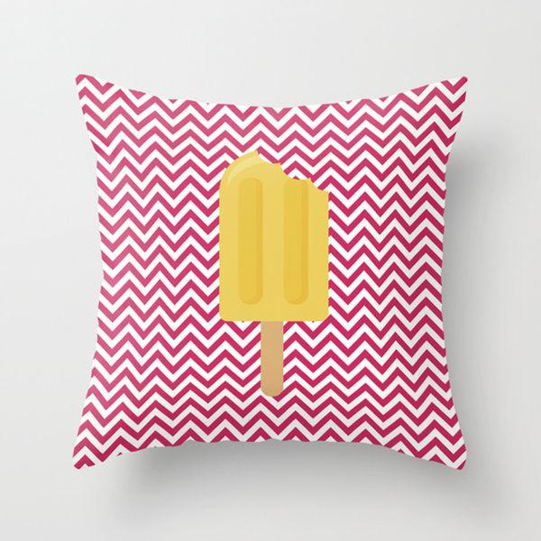 Capa de almofada Sorvete Amarelo e Rosa